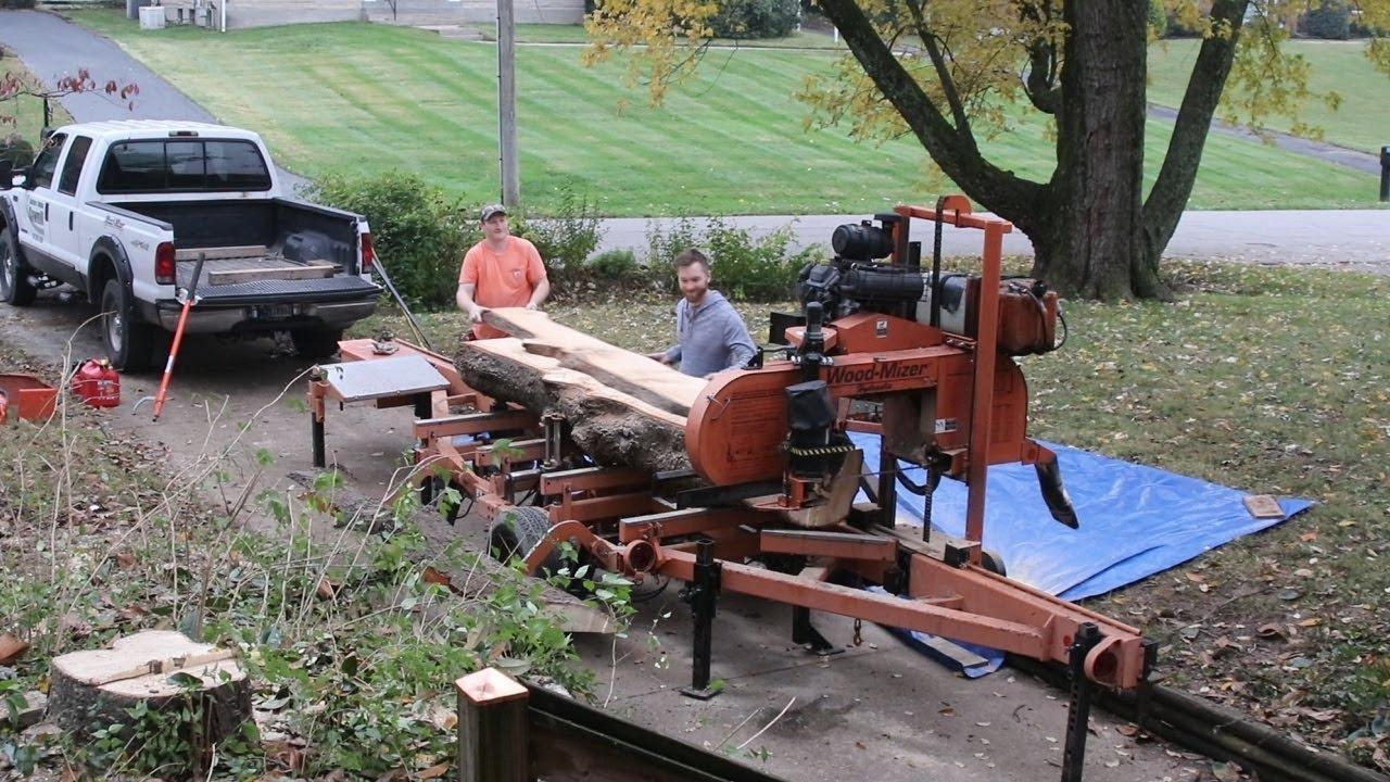 Cutting Slabs From Magnolia Tree Wood Mizer Goes Urban Youtube