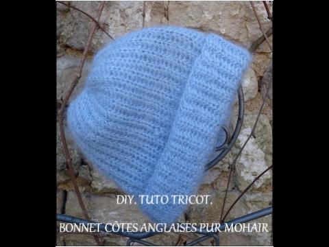diy tuto tricot bonnet bleu en c tes anglaises youtube. Black Bedroom Furniture Sets. Home Design Ideas