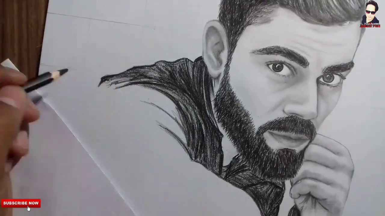 Virat Kohli Drawing How To Draw Pencil Drawing Amrit Pun 2018