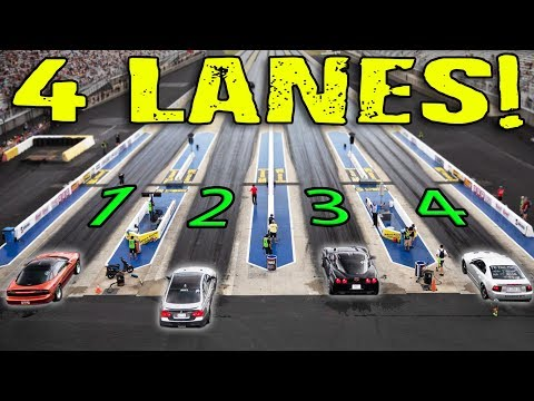 Racing with all FOUR LANES at the Drag Strip!