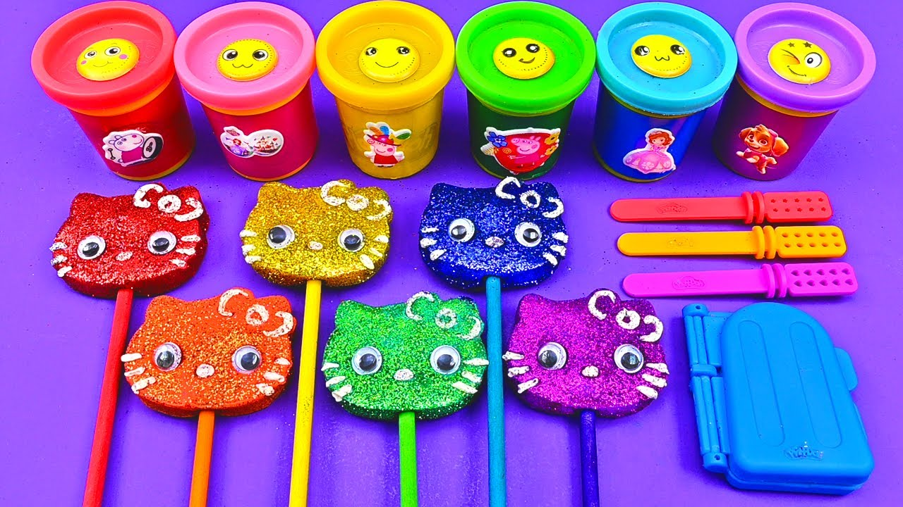 Satisfying Video l How To Make Playdoh Ice Cream with Glitter Lollipop Hello Kitty ASMR