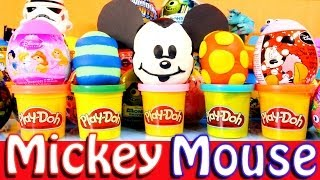 Play Doh Mickey and Minnie Mouse Kinder Surprise Disney Princess Eggs by Disney Cars Toy Club