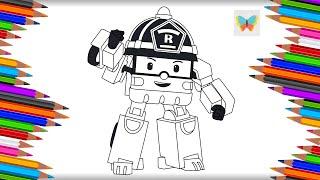 Как нарисовать Роя из мультика Робокар Поли | Рисуем и Учим Цвета | Coloring Kids