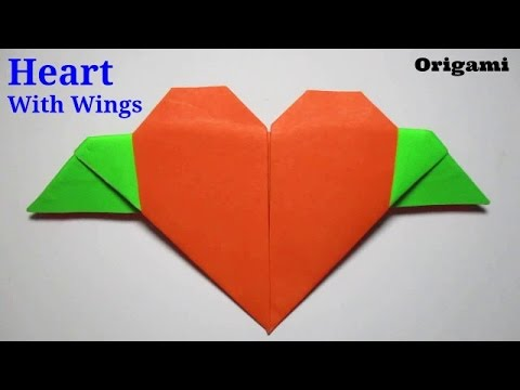 Origami Heart How To Make An Origami Heart With Wings Easy Youtube