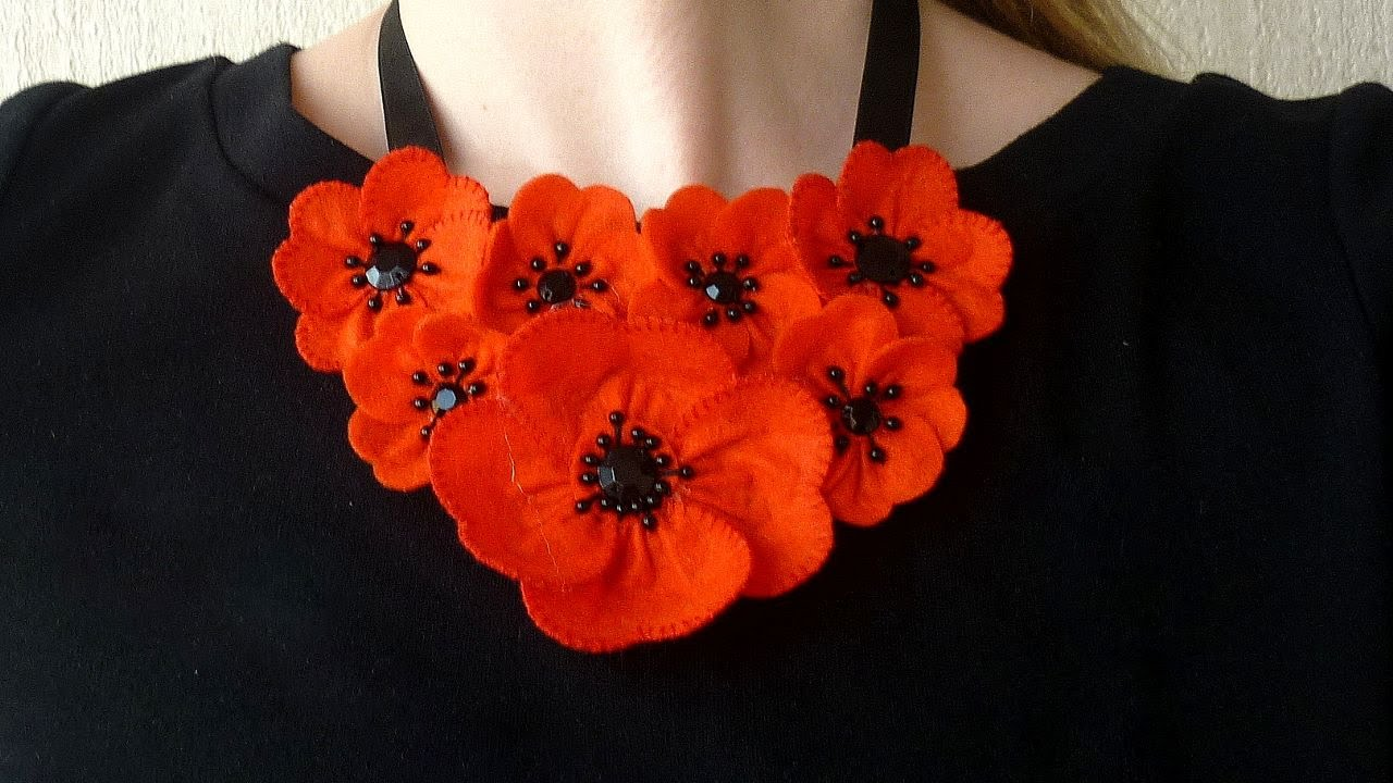 How To Make A Summer Poppy Necklace Diy Style Tutorial