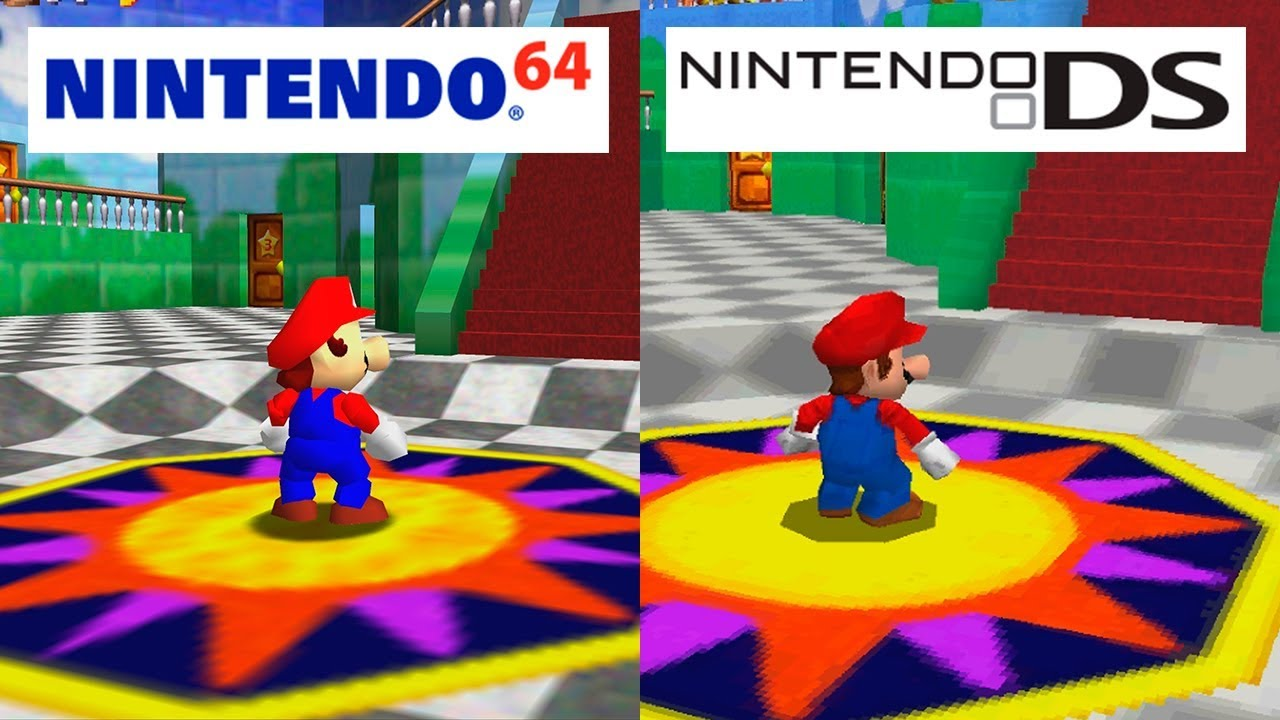 Super mario 64 nintendo 64 vs nintendo ds hd graphics - Nintendo clipart ...