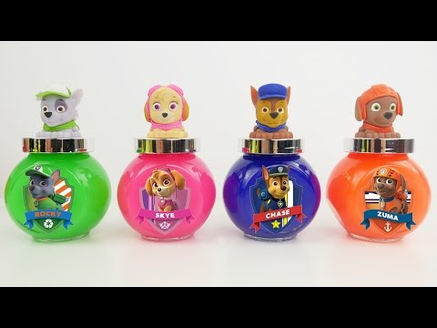 PAW PATROL SLIME PUTTY! Stretchy Squishy Blue Pink Chase & Skye Toy Surprises for Kids Learning