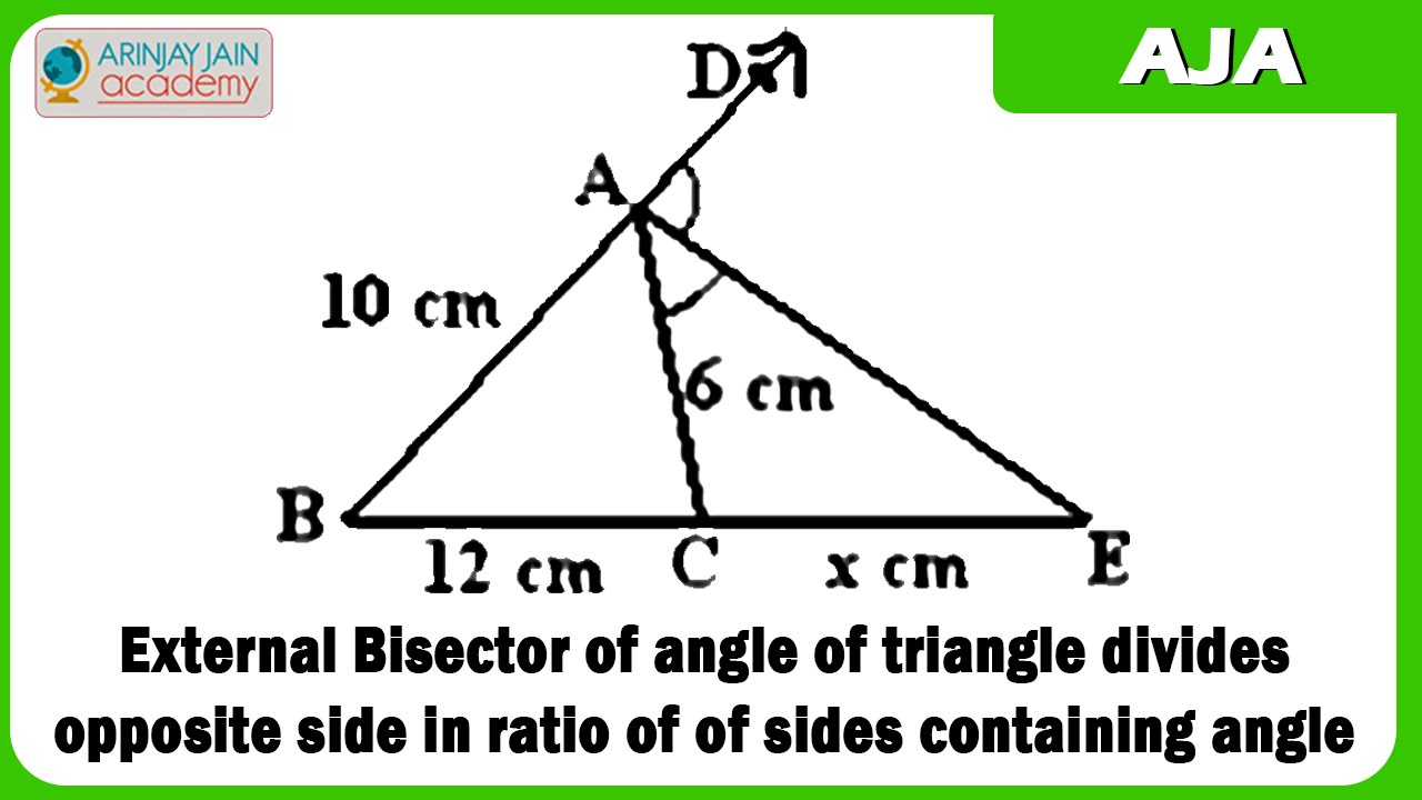 External bisector of angle of triangle divides opposite - Triangle exterior angle theorem proof ...