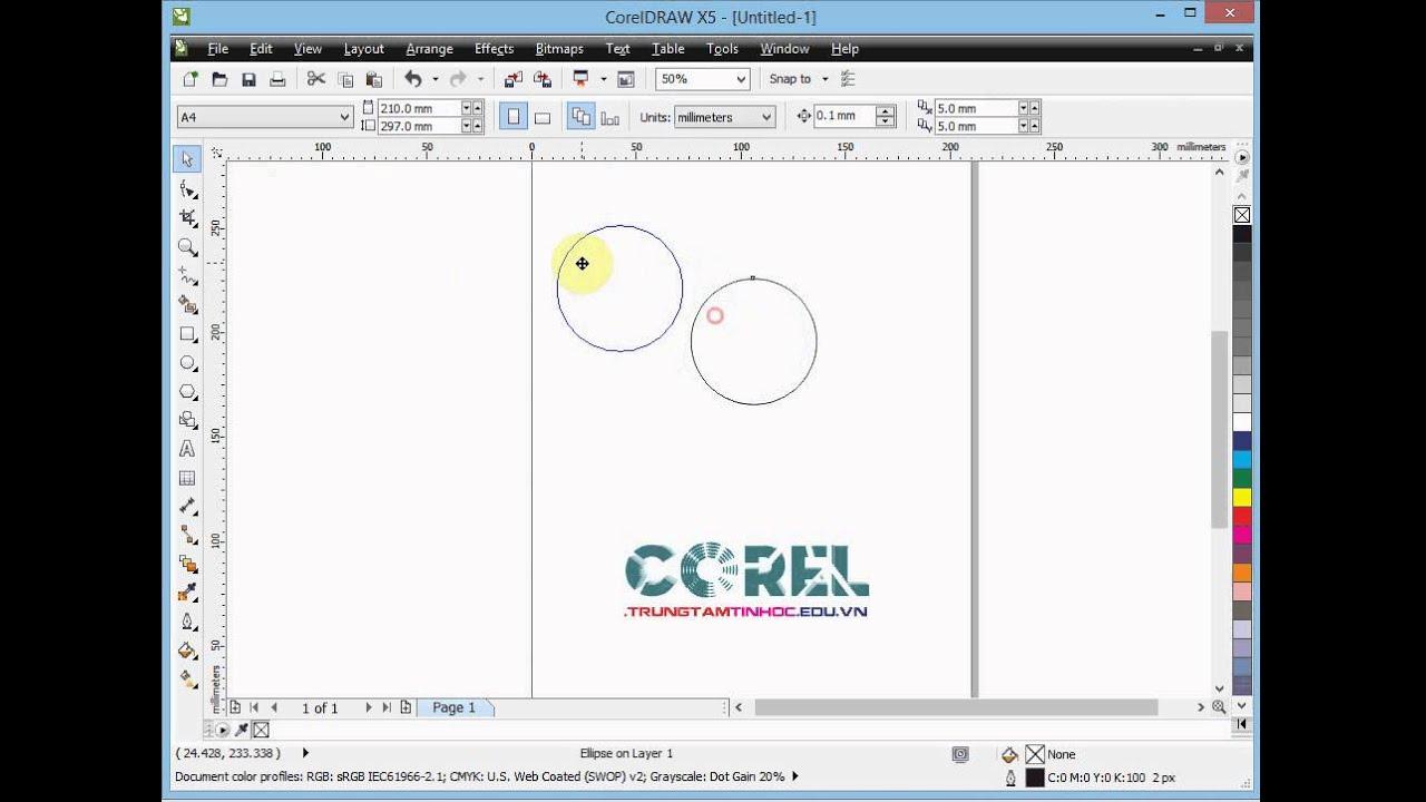 Đường tròn trong Corel X5, học vẽ corel qua các ví dụ