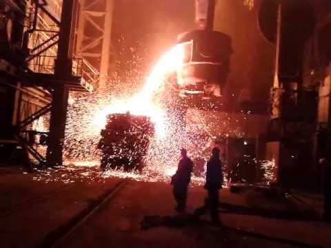 авария на металлургическом заводе,проело ковш