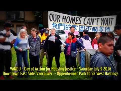 HiMY SYeD - Day of Action for Housing Justice, Downtown East Side Vancouver BC, Saturday July 9 2016