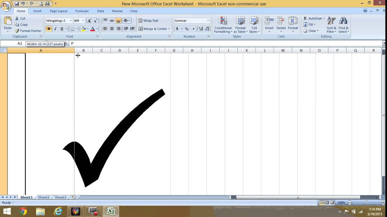 HOW TO INSERT CHECK MARK SYMBOL IN EXCEL