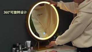 북유럽 LED 거울 벨벳 수납형 쿠션 의자 화장대 세트