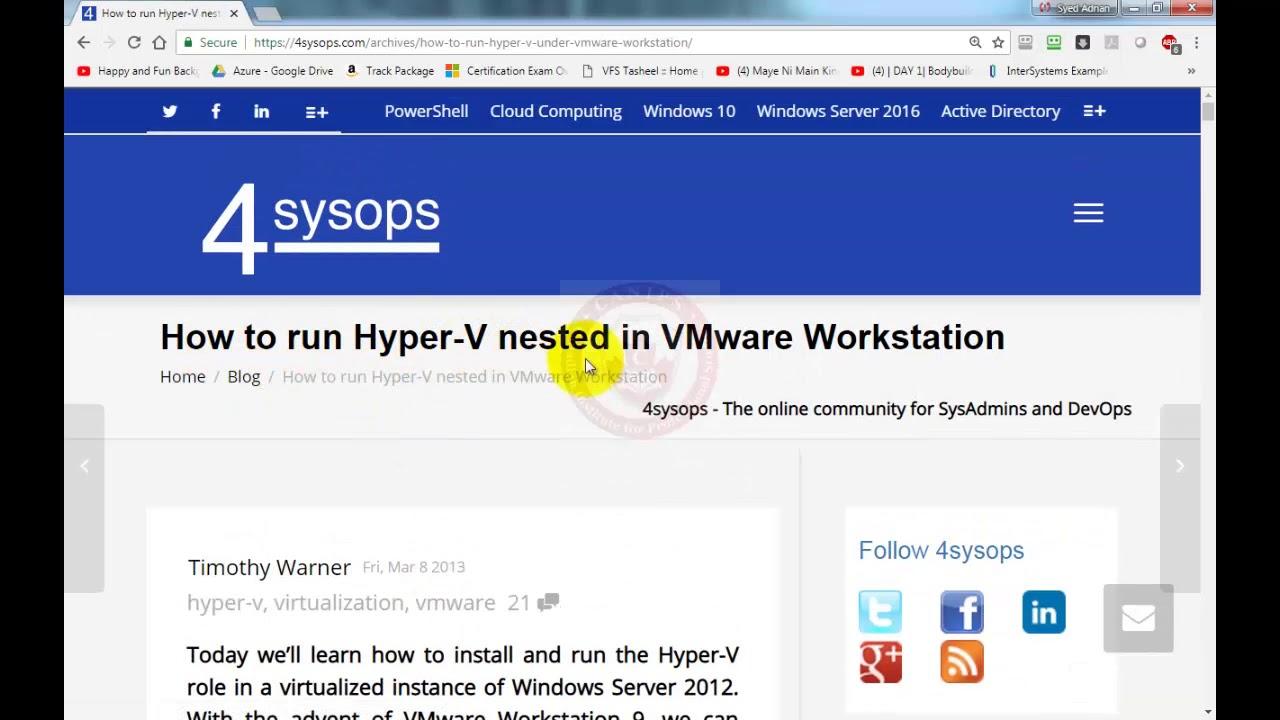 Hyper V Installation Inside Vmware Workstation Youtube