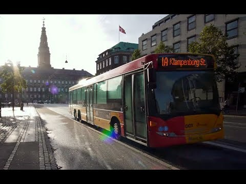 Denmark, Copenhagen, ride with bus No 1A from Holmens Kirke to Svanemøllen train station