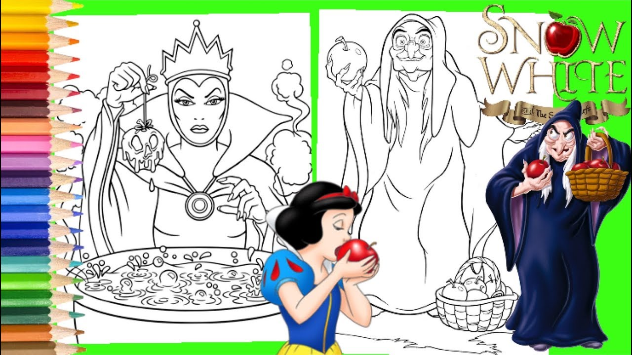 Disney Villain Evil Queen & Evil Queen as the Old Lady - Snow White  Coloring Pages for kids