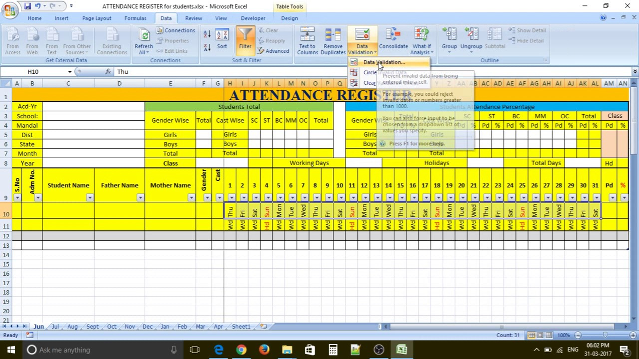 how to make prepare attendance register for students in excel