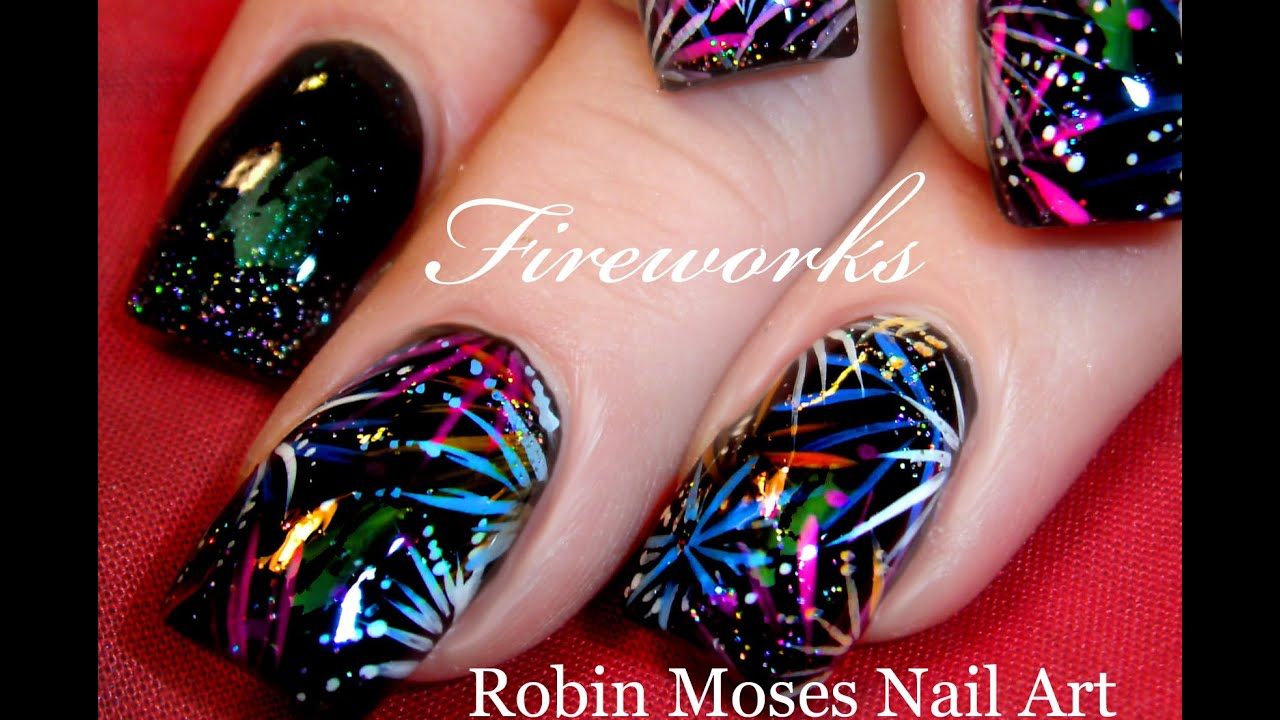 EASY Firework Nail Art Design | DIY 4th of July Nails Tutorial - YouTube