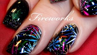 EASY Firework Nail Art Design   DIY 4th of July Nails Tutorial