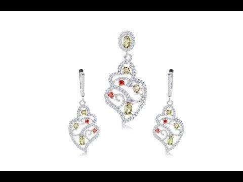 ec8fd4450 Šperky - Strieborná sada 925, prívesok a náušnice, číry ornament, farebné  zirkóny. Šperky eshop