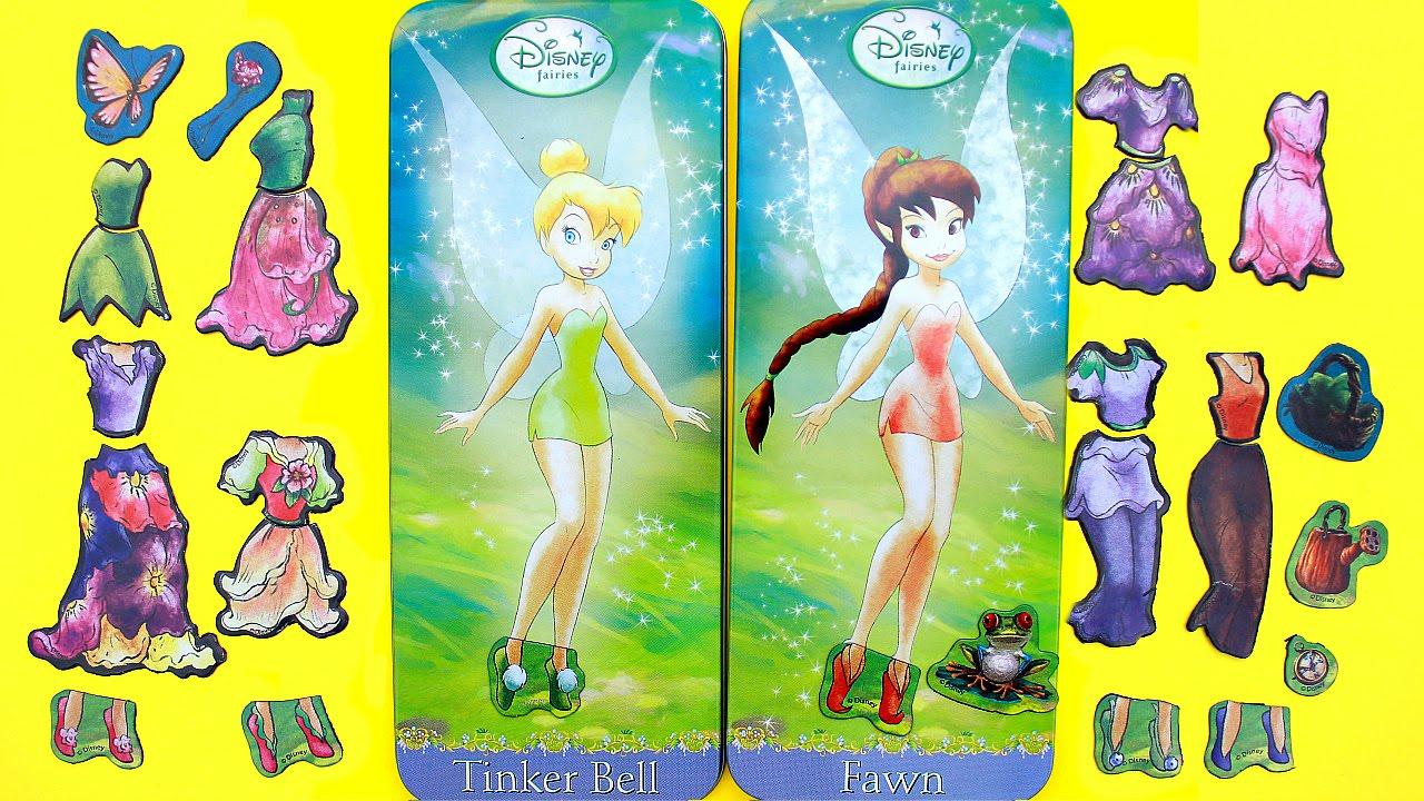 Juego De Muñecas Para Vestir Hadas Disney Campanita Y Fawn Magnetic Fun Paper Dolls Youtube