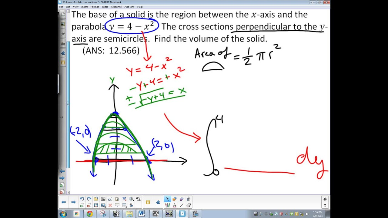 Volume With Known Cross Sections Semicircle In Terms Of Y