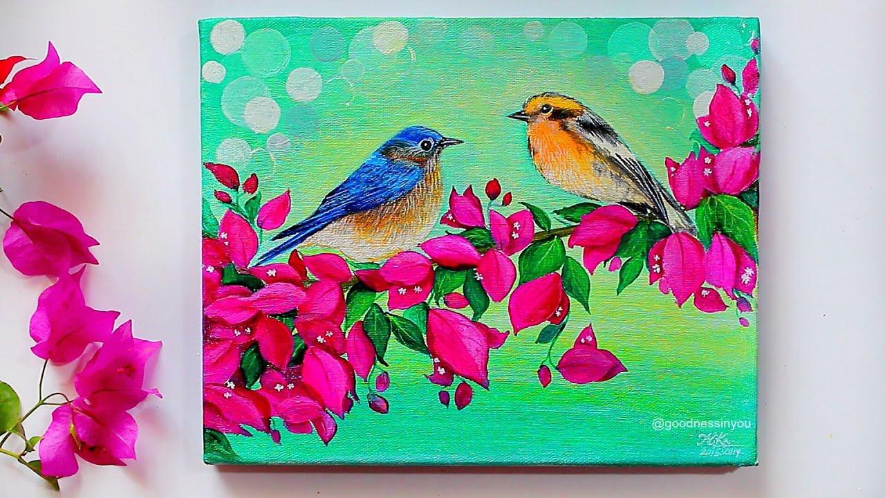 "Easy Bird Acrylic Painting Tutorial ""Bullfinch"" Songbird ...  |Bird Painting Acrylic"