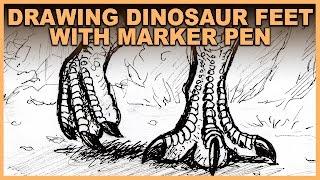 Drawing Dinosaur Feet Marker Pen Tips