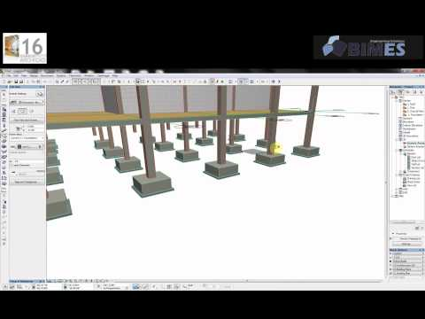 Practice on Grids, Columns & Footings in ArchiCAD - Arabic