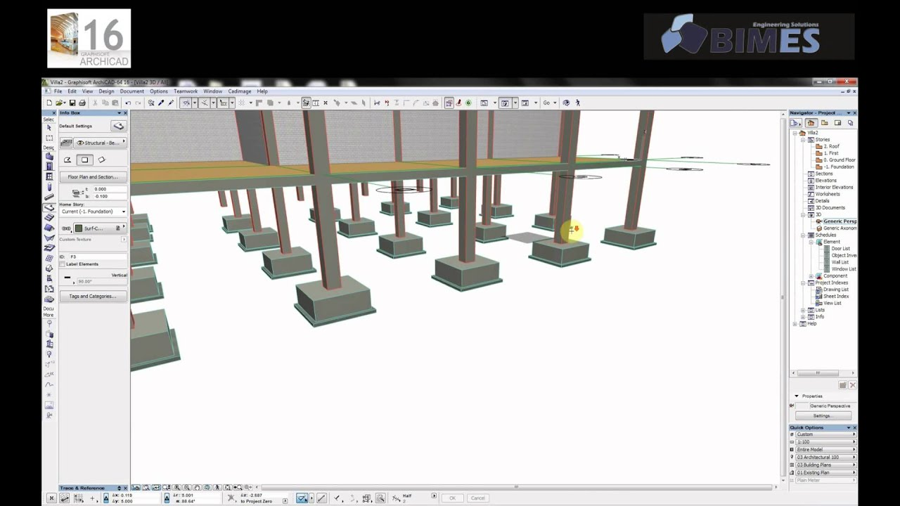 Practice On Grids Columns Amp Footings In Archicad Arabic