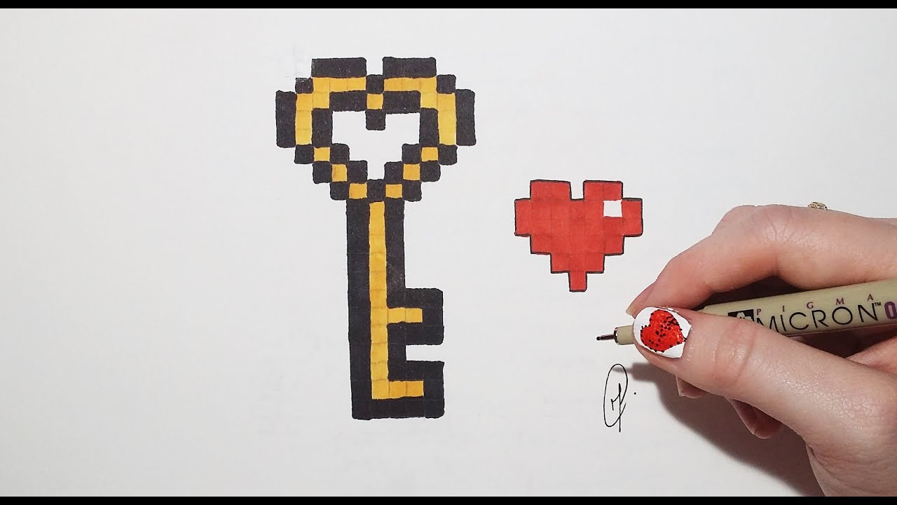 Pixel Art Valentine S Day Key And Heart 1 Youtube
