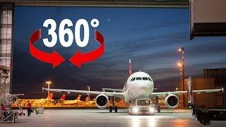 Nachts im Hangar der Swiss - 360°-Video