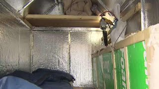 Homeless man's Cramped alternative to a shelter
