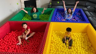LAST to LEAVE the COLORED Lego Ball Pit!