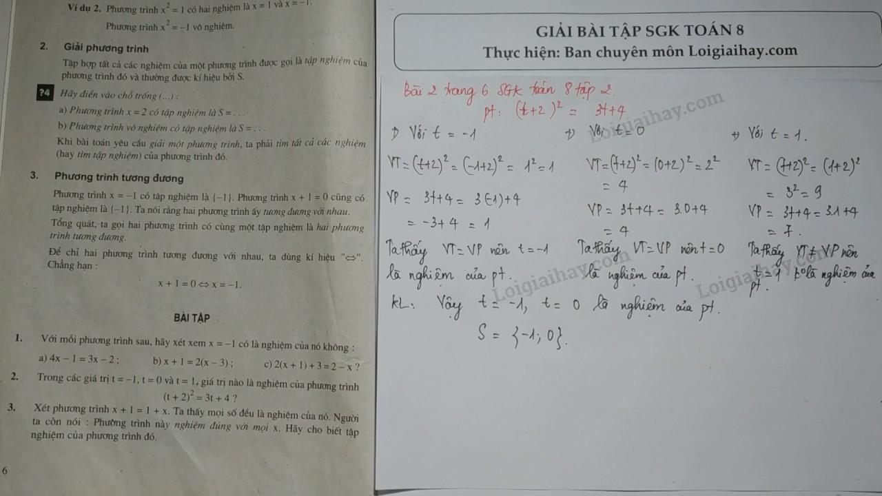 Giải bài 2 trang 6 SGK toán 8 tập 2