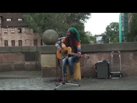 AWESOME STREET MUSICIAN SINGS - No Woman, No Cry