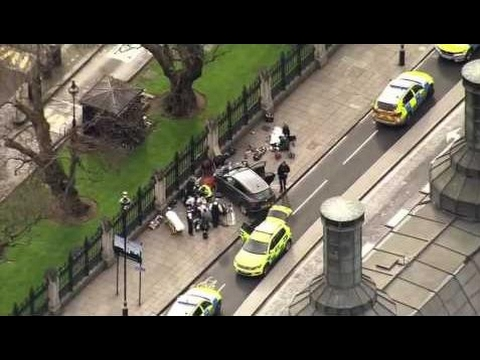 Police And Paramedics Surround Car Post Attack On Uk Parliament, Westminster Bridge