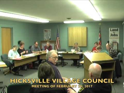 Hicksville Village Council Meeting 2-20-17