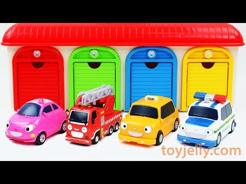 Learn Colors with Tayo Garage Parking Playset Car Toys for Children Baby Finger Song Play Doh Molds