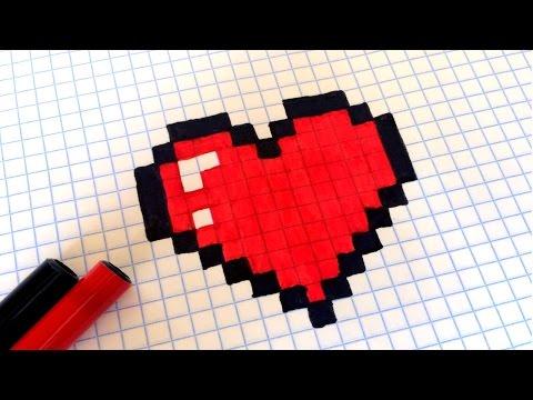 Как рисовать по клеточкам сердечко