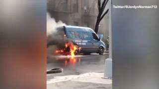 Half a dozen cars go up in flames due to gas leak in NYC
