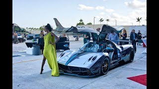 Hot Supercars and Hot Girls at Wheels Wings & Fashion CHARITY HANGAR EVENT