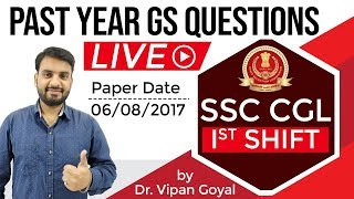 SSC CGL 6 August 2017 Exam, General Awareness Questions with Answers by Dr. Vipan Goyal, 1st Shift