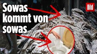 Dieses Video zeigt dir drastisch, warum du Feuchttücher nicht ins Klo werfen sollst!