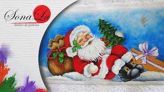 Papai Noel Deitado em Tecido – Sonalupinturas