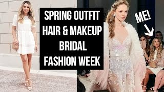 GRWM SPRING OUTFIT, MAKEUP & HAIR! COME TO BRIDAL FASHION WEEK WITH ME!