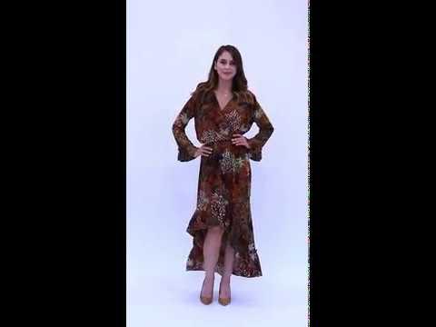 Video: Asymetryczna sukienka w kwiaty z kopertowym dekoltem