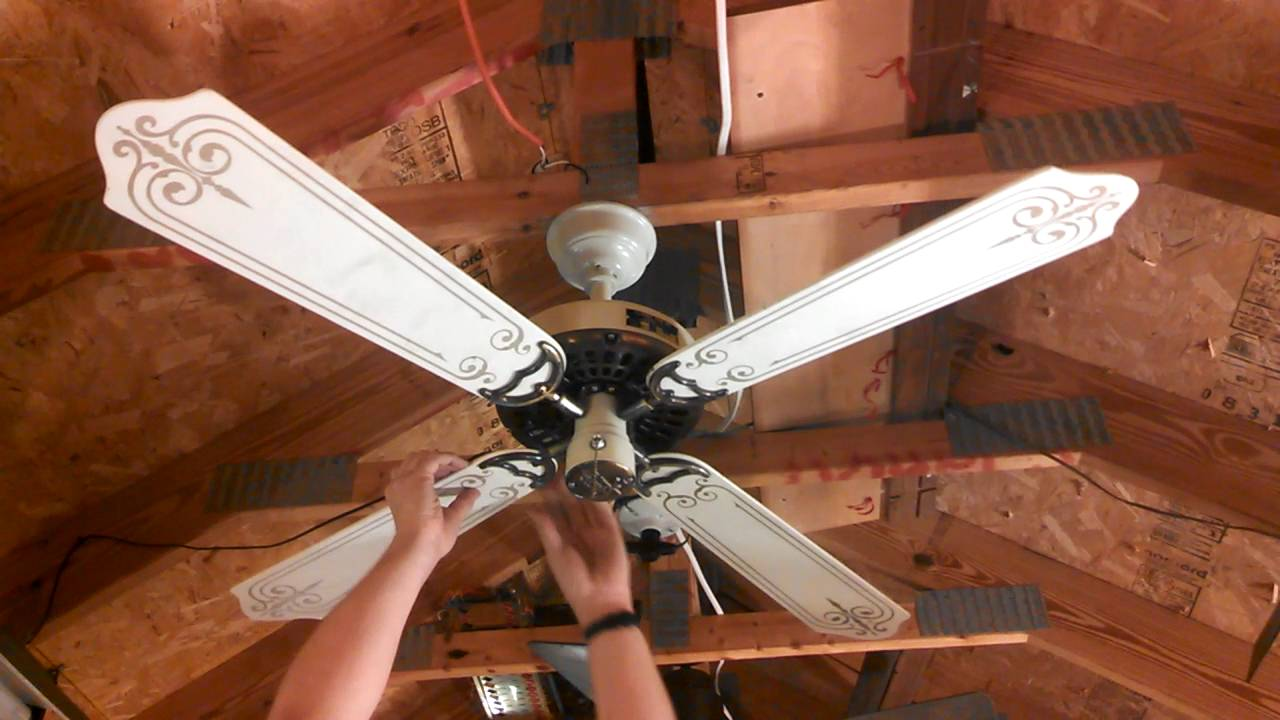 Classic Fan Co Ceiling White Antique Brass With 48 Stencil Blades
