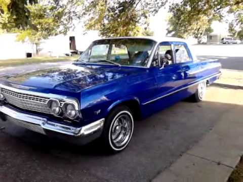 candy blue 63 bel air 14 inch wire wheels daytons lowrider donk old school classic  chevy