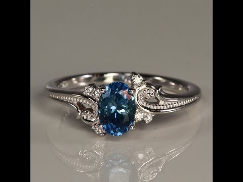 14K White Gold Montana Sapphire Ring 1.32 Carats